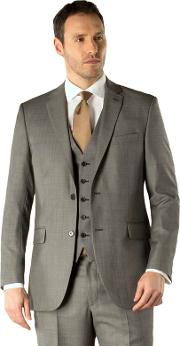 Grey Pick And Pick 2 Button Suit Jacket