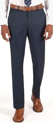Plain Blue Washable Tailored Fit Suit Trouser