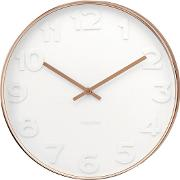 Mr. White Numbers Copper Case Wall Clock