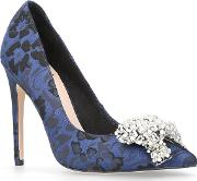 Blue bow High Heel Court Shoes