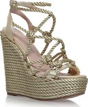 Gold notty High Heel Wedge Sandals