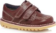 Boys' Dark Red ' Stitch Detail Leather Shoes
