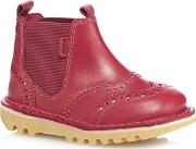 Girls Red chella Brogue Detail Boots