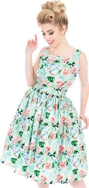 Green Cobalt Green Birds Dirdle Dress