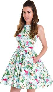 Multicoloured Caribbean Flamingo Tea Dress