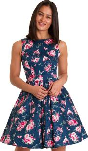 Navy Floral Lantern Tea Dress