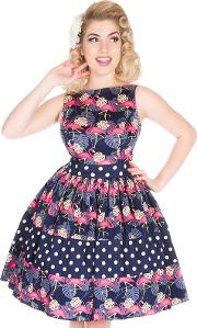 Navy Pretty In Pink Flamingos Dinah Tea Dress