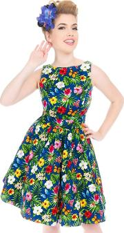 Navy Summer Floral Navy Tea Dress