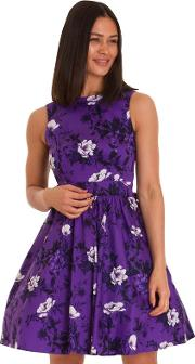 Purple Violet Rose Two Tone Tea Dress