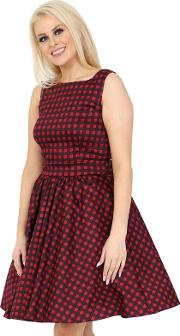 Red Crimson Gingham Tea Dress