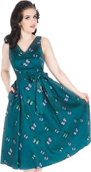 Turquoise Enchanting Butterflies Iris Dress