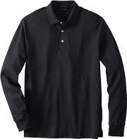 Black Tall Long Sleeve Supima Polo