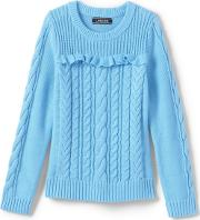 Blue Girls Cable And Frill Jumper