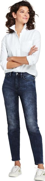 Blue High Waisted Indigo Stove Pipe Ankle Jeans