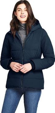 Blue Hooded Faux Fur Lined Down Jacket With Stretch