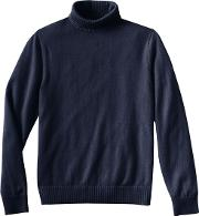 Blue Mens Roll Neck Cashmere Sweater