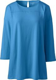 Blue Petite Lightweight Cotton & Modal Tunic Top