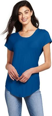 Blue Petite Short Sleeve Jersey Scoop Neck T Shirt