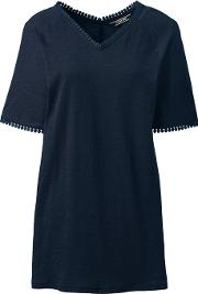 Blue Petite Short Sleeve Tunic Top In Cotton & Modal