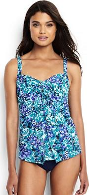 Blue Regular Shape And Enhance Sweetheart Split Front Wave Print Tankini Top