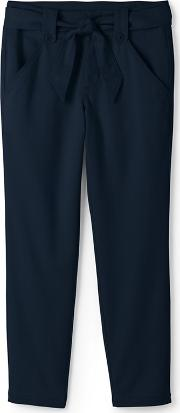 Blue Regular Super Soft Tie Waist Chino Trousers