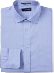 Blue Spread Collar Easy Iron Pinpoint Shirt
