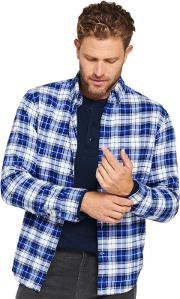 Blue Tailored Fit Patterned Flannel Shirt