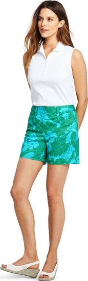 Blue Womens 5 Inch Patterned Chino Shorts