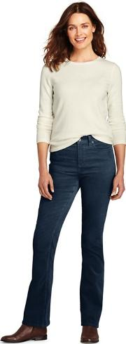 Blue Womens Mid Rise Boot Cut Cord Jeans