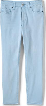Blue Womens Mid Rise Coloured Ankle Jeans
