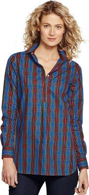 Blue Womens Patterned Supima Non Iron Shirts