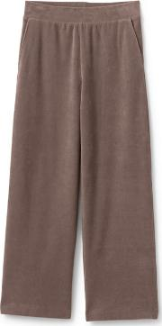 Brown High Waisted Sport Knit Cord Wide Leg Trousers