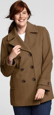 Brown Plus Luxe Wool Pea Coat
