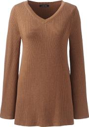 Brown Womens Ribbed V Neck Tunic Jumper