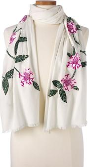Cream Embroidered Floral Scarf
