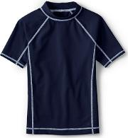Dark Blue Boys Short Sleeve Rash Guard Top