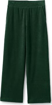 Green High Waisted Sport Knit Cord Wide Leg Trousers