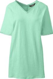 Green Petite Short Sleeve Tunic Top In Cotton & Modal