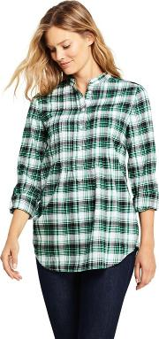 Green Pintucked Brushed Cotton Tunic Top