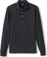 Grey Long Sleeve Supima Polo