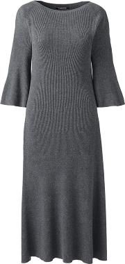 Grey Petite Fit And Flare Rib Knitted Dress