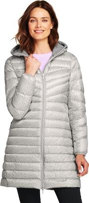 Grey Petite Patterned Ultra Light Packable Down Coat