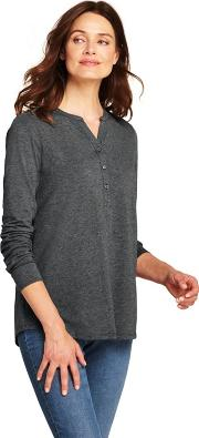 Grey Womens Cottonmodal Henley Tunic Top