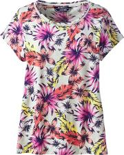 Multi Plus T Shirt With Trimmed Scoop Neck