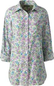 Multi Print Cotton Or Linen Roll Sleeves Shirt