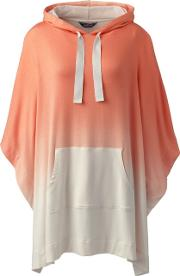 Orange French Terry Hooded Dip Dye Poncho
