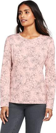 Pink Petite Supima Long Sleeved Patterned Crew Neck T Shirt