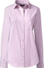 Pink Womens Patterned Long Sleeve Classic Oxford Shirt