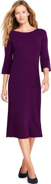 Purple Petite Fit And Flare Rib Knitted Dress