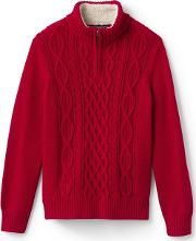 Red Boys Zip Neck Cable Cotton Jumper